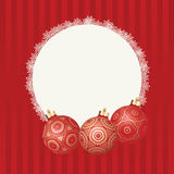 Text frame with white snowflakes border and three different Christmas balls with gold design. Vector Christmas card Royalty Free Stock Photography