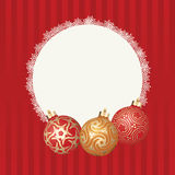 Text frame with white snowflakes border and three different Christmas balls with gold design. Vector Christmas card Royalty Free Stock Photos
