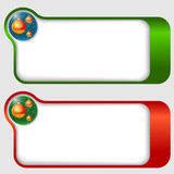 Text frames with a Christmas balls Royalty Free Stock Photos