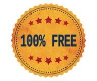 Text 100%-FREE, auf Weinlesegelb-Aufkleberstempel lizenzfreie abbildung