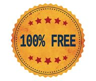 Text 100%-FREE, på stämpel för tappninggulingklistermärke Arkivbilder