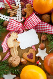 Text-free tin plate with christmas decoration Royalty Free Stock Image
