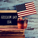 Text freedom day usa and american flag Stock Photo