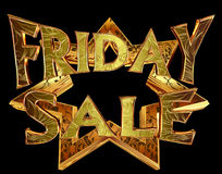 Text friday sale on a golden star on a black background Stock Images