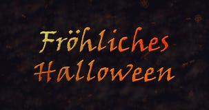 Text Frohliches Halloween in der deutschen Auflösung in Staub zum einen Tiefstand zu erreichen vektor abbildung