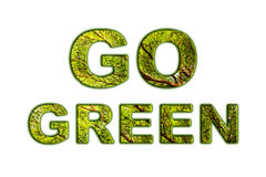 Text go green with tree bush texture inside font on natural soft Stock Photo