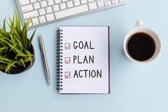 Free Text Goal, Plan And Action On Notepad Royalty Free Stock Photography - 159959887