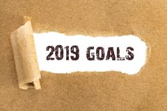 The text 2019 goals appearing behind torn brown paper.  royalty free stock photography