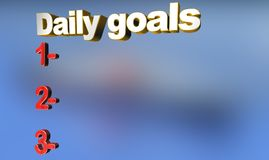 Memo pad for daily goals. Text 'Daily goals' in white 3D letters with numbers 1, 2 and 3 in red below with space  to add particular goals for every individual Royalty Free Stock Images
