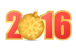 2016 text and gold ornament Stock Image