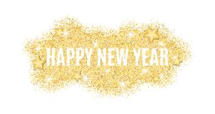 The text is from gold particles for the New Year. Gold glitter. Christmas lights. Christmas golden background for banner, flyer. G. Old dust with the stars. Gold Stock Photos
