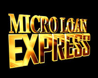 Text with golden letters express microloan on a black background Stock Image