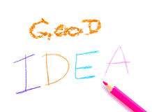 Text good idea with pencil on white background Royalty Free Stock Images