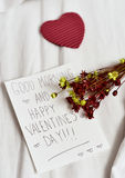 Text good morning and happy valentines day Royalty Free Stock Photography