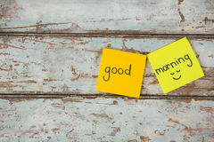 Text good morning written on sticky note Royalty Free Stock Image