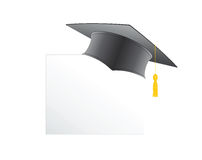 Text with graduation hat set illustration. Text with graduation hat set on a white set sign illustration Stock Image