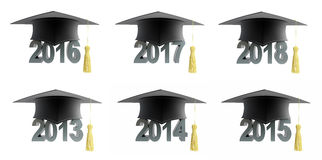 2018 text with graduation hat set. Text with graduation hat set on a white background 3D illustration Stock Images