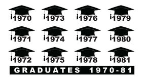 Text with graduation hat  1970-1981 set. On a white illustration Royalty Free Stock Photography