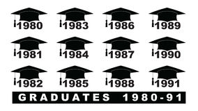 Text with graduation hat  1980-1991 set on a white illustration. Text with graduation hat  1980-1991 Royalty Free Stock Photos
