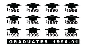 Text with graduation hat  1990-2001 set on a white illustration. Text with graduation hat  1990-2001 Royalty Free Stock Photo