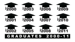 Text with graduation hat  2000-2011 set on a white illustration. Text with graduation hat  2000-2011 set Stock Image