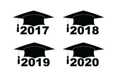 Text with graduation hat set on a white set illustration. Text with graduation hat set on a white set sign illustration Stock Photo