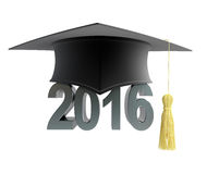 2016 text with graduation hat. On a white background Stock Photography