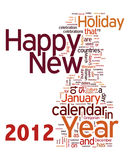 Text graphic. Happy new year 2012 info-text graphics and arrangement concept on white background (word clouds Stock Image
