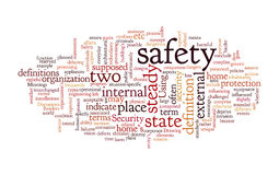 Text graphic. Safety info-text graphics and arrangement concept on white background (word clouds Stock Image