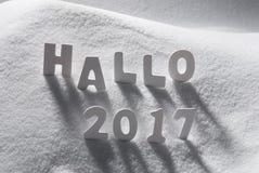 Text hallo 2017 Durchschnitte hallo mit weißen Buchstaben im Schnee Stockbild