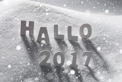 Text hallo 2017 Durchschnitte hallo, weiße Buchstaben im Schnee, Schneeflocken Stockbild