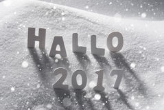 Text Hallo 2017 Means Hello, White Letters In Snow, Snowflakes. White Letters Building German Text Hallo 2017 Means Hello 2017 In Snow. Snowy Scenery With stock image