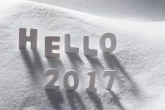 Text hallo 2017 mit weißen Buchstaben im Schnee Lizenzfreie Stockfotos