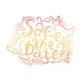 The text on hand drawn style. The vector text on hand drawn style Save the date. The illustration can be used as an inscription on wedding invitation, album and stock illustration