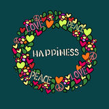 Text happiness in round vector frame. Stock Images