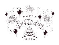 Text Happy Birthday with Firework and Cake vector illustration