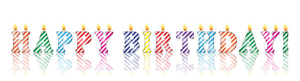 Text `happy birthday` in the form of candles. On a white background Stock Photos