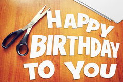 Text Happy Birthday To You. Scraps of paper Stock Photos