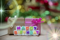 Text Happy Birthday View Beautiful. Happy Birthday message on a wooden backdrop background Gradient beautiful view Stock Photos