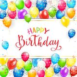 Text Happy Birthday with balloons and streamers Royalty Free Stock Photo