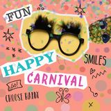 Text happy carnival in a contemporary art collage. Text happy carnival, as paper cutouts, a pair of fake black glasses with eyebrows, a pineapple with sunglasses stock image