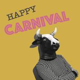 Text happy carnival in a contemporary art collage stock photography