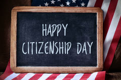 Text happy citizenship day and flag of USA Royalty Free Stock Photography