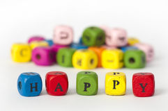 Text happy of colorful cubes Stock Photo