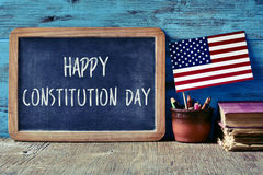 Text happy constitution day and flag of USA Royalty Free Stock Images