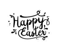 Text Happy Easter, black,  on white, illustration Stock Photo