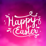 Text Happy Easter, black, white on pink textured background, illustration Stock Image
