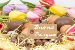Text Happy Easter Buona pasqua is Happy Easter written in Italian  for graphic resource on the theme of Easter and the arrival of. Bright images on the theme of royalty free stock image