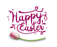 Text Happy Easter, purple on white with pink tulip, illustration Stock Photo