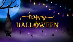 Text Happy Halloween on mysterious night background with moon and bat stock illustration